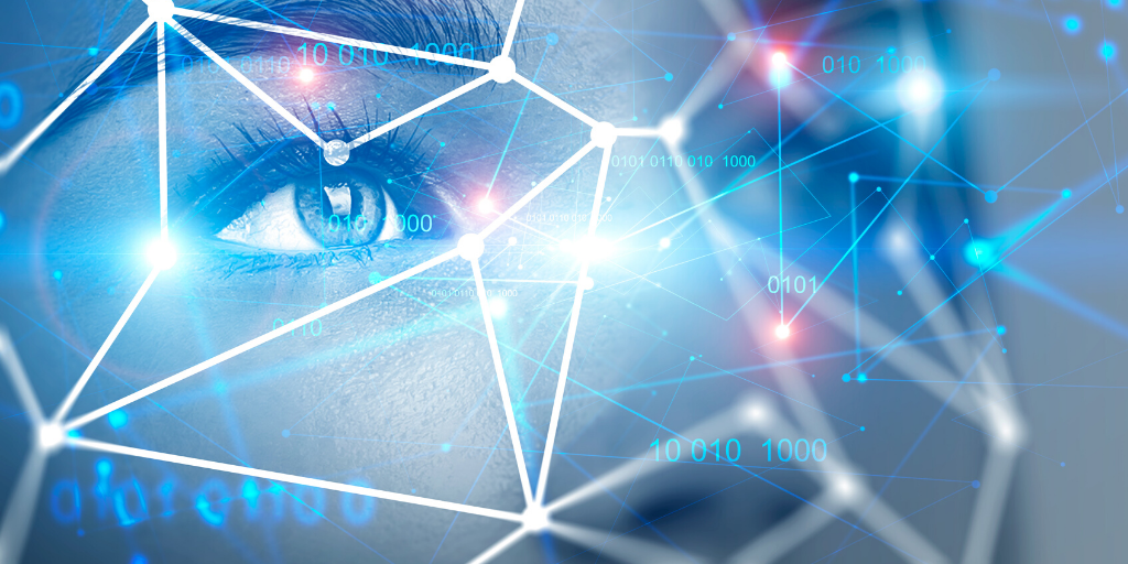 Close up of person with facial recognition mesh