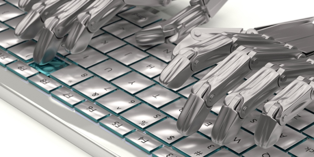 close up of robot hands typing
